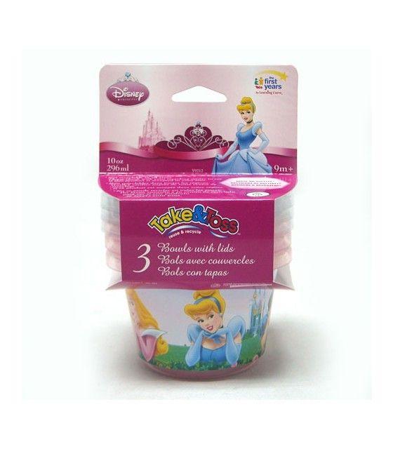 Juego  3 tazones con tapa Princesas s.d.