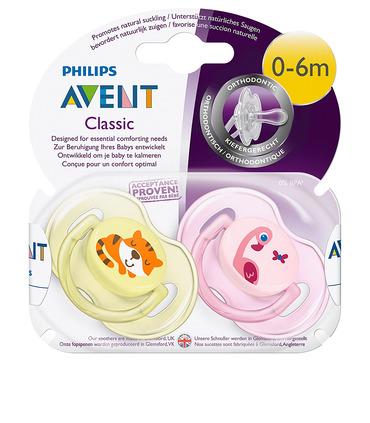 Chupón Animales Clas. Philips Avent SCF169/26 0-6M Niña 2Pzs