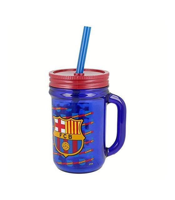 Jarra con Popote de 420 ml Futbol FC Barcelona FCB