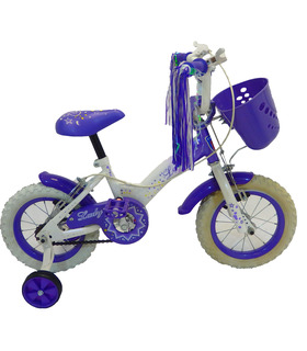 Bicicleta Infantil para niña rodada 12 Blanco-Lila