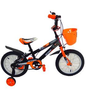 Bicicleta Infantil para niño rodada 14 Negro-Naranja