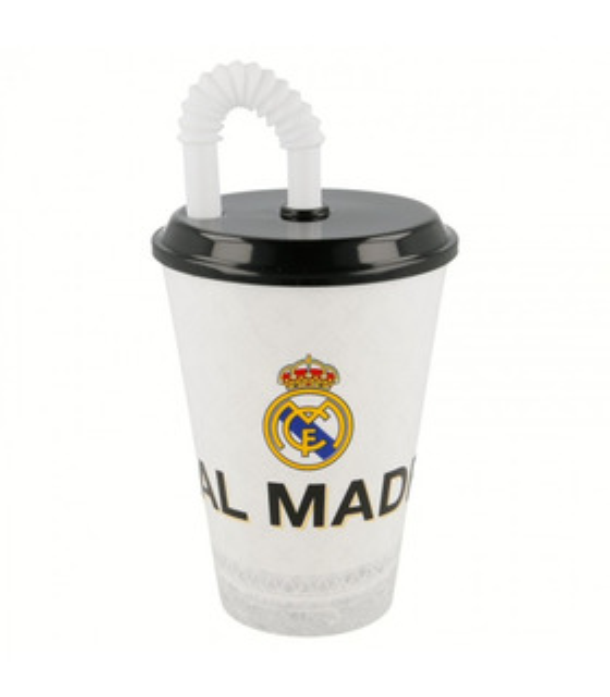 Vaso con Popote de 430 ml Futbol Real Madrid
