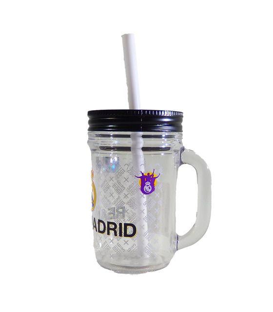 Jarra con Popote de 420 ml Futbol Real Madrid