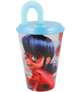 Vaso plastico Entrenador con tapa y popote 430ml Lady Bug Miraculous