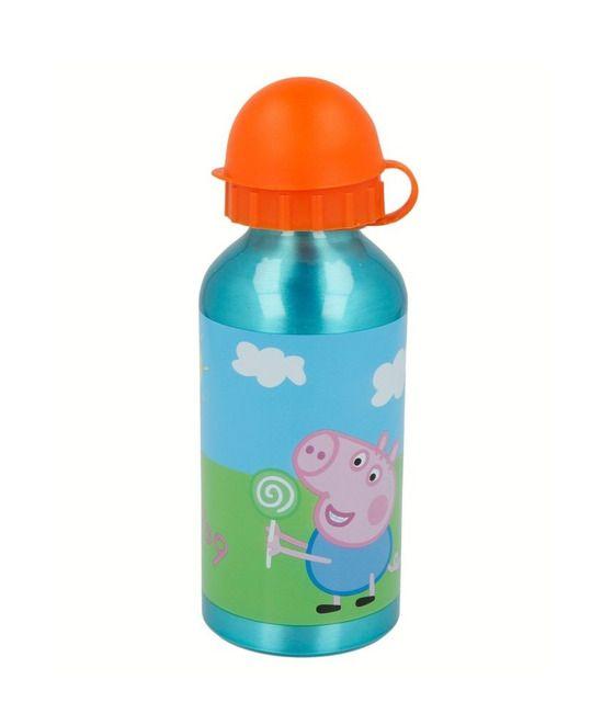Botella de Aluminio con Tapa y Popote Peppa Pig 400ml