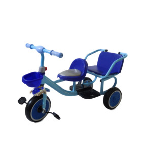 Triciclo Doble Asiento 2 Niños con Canasta Llantas de Goma 2a5 años