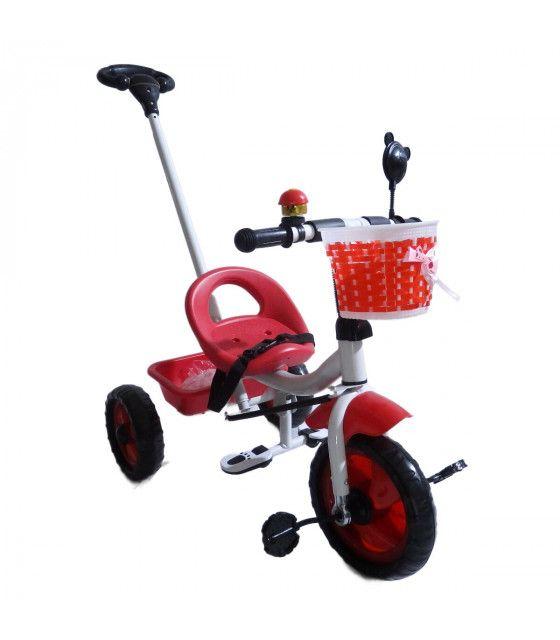 Triciclo Infantil con Baston Timbre Llantas de Goma Espejo 2a5 años