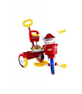 Triciclo Infantil Metalico Baston Torreta Luz Sonido Canastos