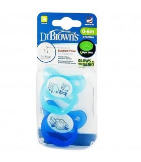 Dr. Browns Chupones Brillan de Noche Azul 0-6M 2pz